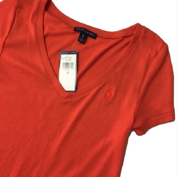 Ralph Lauren Tops - New RALPH LAUREN orange V-neck logo T shirt M